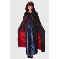 Cape Reversible Black w/ Red Satin