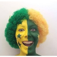Wig - Green & Gold Afro with Stars