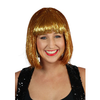 Wig - Gold Tinsel Disco Bob