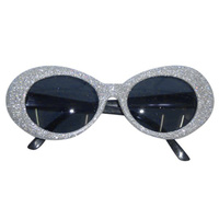 Glasses - 70S Silver Groovy Glitter Sunglasses