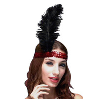 Headband - Red Sequin Flapper Headband W/Feather