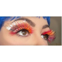 Eyelash - Red Feathery W/Silver Tinsel
