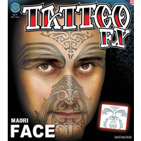 Maori Tribal Full Face Tattoo