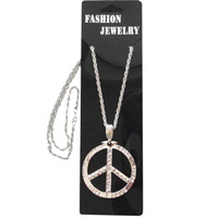 Necklace - Peace Sign-Silver Metal Necklace