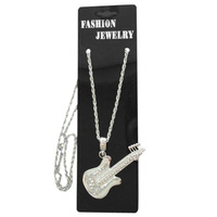 Necklace - Silver Guitar- Metal Necklace