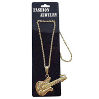 Necklace - Gold Guitar- Metal Necklace