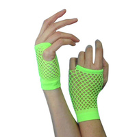 Gloves -Short Fishnet Neon Green