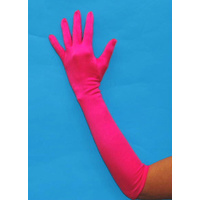 Gloves - Long Satin Bright Pink-Elbow
