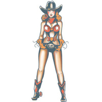 Cowgirl - Pin Up - Temporary Tattoo