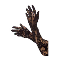 Gloves - Long Lace Burlesque Black *
