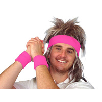 80S Tennis Sweatband Set- Hot Pink