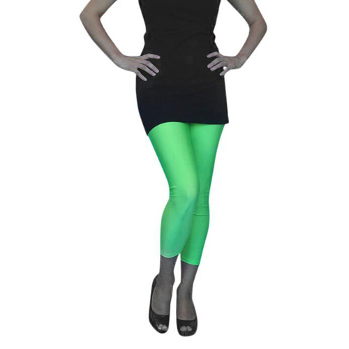 Tights - Lycra Footless Tights - Neon Green (A)